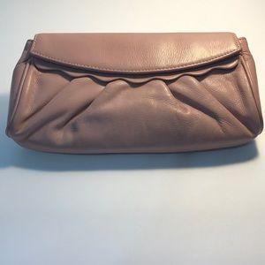 Lauren Merkin dusty pink leather clutch